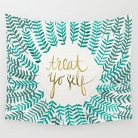 parks and recreation Wall Tapestries featuring Treat Yo Self – Gold & Turquoise by Cat Coquillette