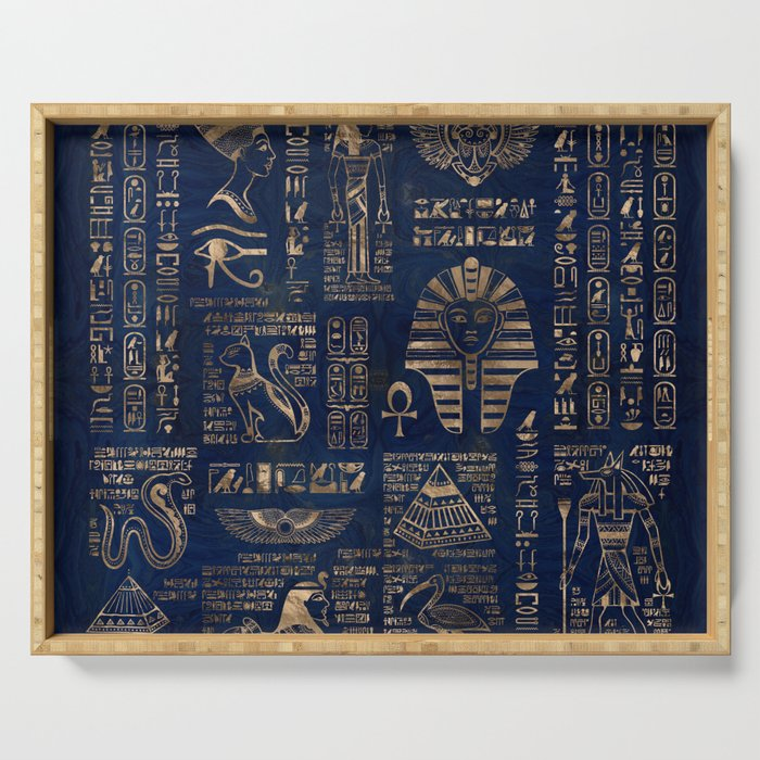 Egyptian hieroglyphs and deities-gold on blue marble Serving Tray