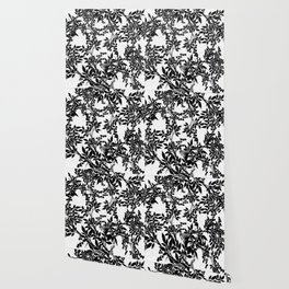 Toile Black and White Tangled Branches and Leaves Wallpaper