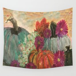 Pumpkins and Flowers Wall Tapestry
