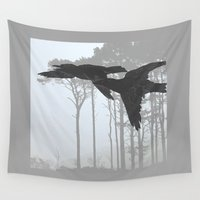 hunting Wall Tapestries featuring Crow Goes Hunting by anipani