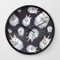 unicorn Wall Clocks featuring Unicorn Cat by Oh Monday