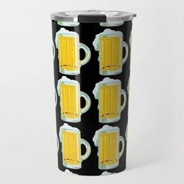 Beer Mugs on Black Background Travel Mug