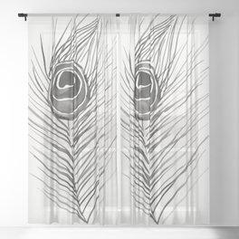Peacock Feather – Black Palette Sheer Curtain