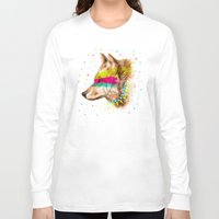 selena gomez Long Sleeve T-shirts featuring Cherokee Wolf II by dogooder
