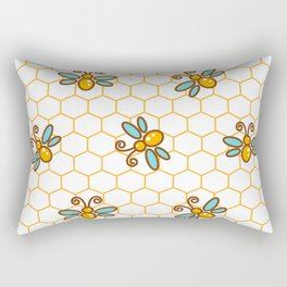 Line style bee yellow and blue pattern Rectangular Pillow