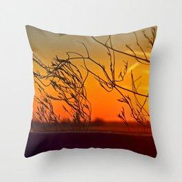 Sunset through the bushes Throw Pillow