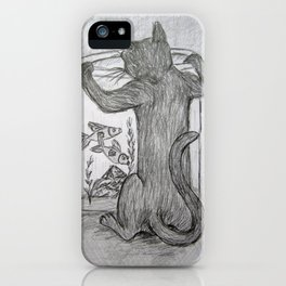 Curious Cat and the Goldfish Drawing iPhone Case
