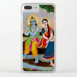 lord krishna and radha seating river Clear iPhone Case
