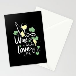 Wine a little love a lot humorous wine festival saying for wine drinkers gift Stationery Cards