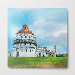 Watercolor painting of Pisa, Italy Metal Print