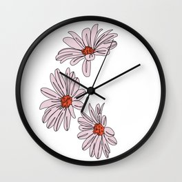 Daisy botanical line illustration - Bud Wall Clock