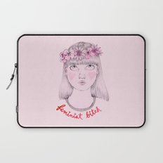 Floral Feminist Bitch Laptop Sleeve