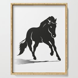 Black silhouette of a running horse Serving Tray