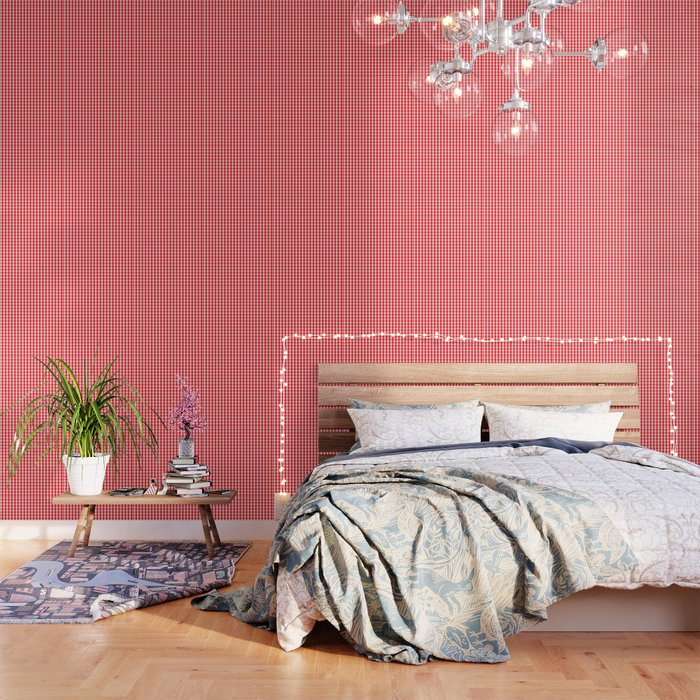 Christmas Red Velvet Large Gingham Check Plaid Pattern Wallpaper By