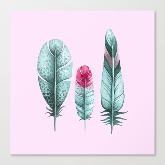 Watercolor feathers (pink) Canvas Print