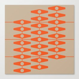 abstract eyes pattern orange tan Canvas Print