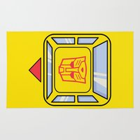 transformers Area & Throw Rugs featuring Transformers - Bumblebee by CaptainLaserBeam