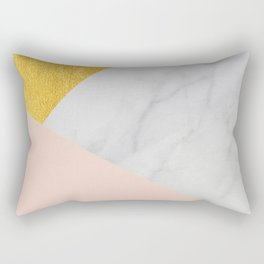 Carrara Marble with Gold and Pantone Pale Dogwood Color Rectangular Pillow