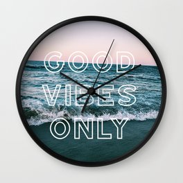 good vibes only over beach Wall Clock