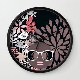 Afro Diva : Sophisticated Lady Pale Pink Peach Taupe Wall Clock