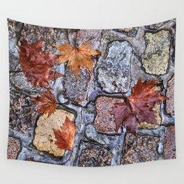 Golden Road Cobble. Darro street in Albaicin. Autumn leaves. Granada. Spain. rainy days. Wall Tapestry
