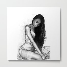 Natalie Danish - Kneeling Girl Metal Print