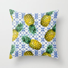 Pattern of Moroccan pineapples and tiles Throw Pillow