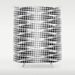 Slim Look Leggings Checkers White Paint Stripes Pattern Shower Curtain