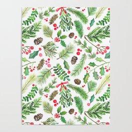 Lovely Christmas Greenery Poster