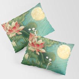 Chinese Lotus Full Moon Garden :: Fine Art Collage Pillow Sham