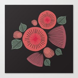 Vintage Floral Dark Canvas Print