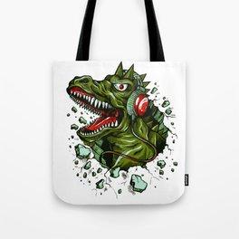 Dino with Headphones Brown Raw Umber Tote Bag