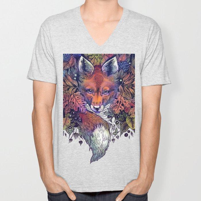 Hiding fox rainbow Unisex V-Neck