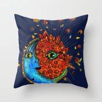sun and moon Throw Pillows featuring Sun-Moon by Aubree Eisenwinter