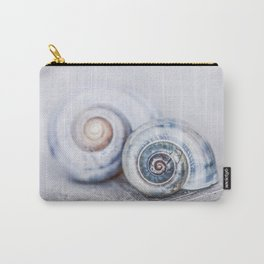 Blue Shells on white washed wood  pastel blues Carry-All Pouch