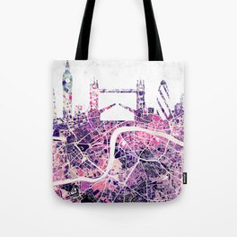 LONDON Skyline + map Tote Bag