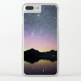 northern lights over lake mcdonald Clear iPhone Case