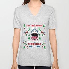 White Christmas Shark Ugly Cardigan Gift Unisex V-Neck