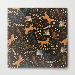 Autumn Woodsy Floral Forest Pattern With Foxes And Birds Metal Print