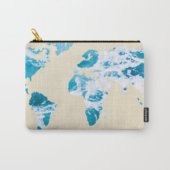 Ocean World Map Sea and Sand Carry-All Pouch