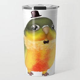 Fanciful Conure with Hat Travel Mug