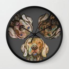 Triple Hunting Dogs in Dark Wall Clock