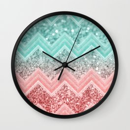 Summer Vibes Glitter Chevron #1 #coral #mint #shiny #decor #art #society6 Wall Clock