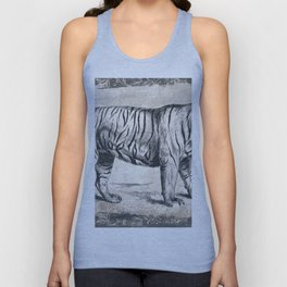 Vintage Tiger Sketch (Monochrome) Unisex Tank Top