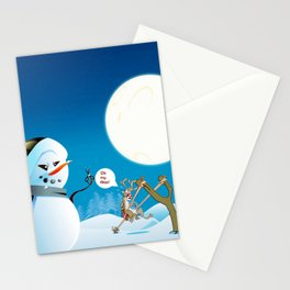 """Angry Snowman and Santa's Reindeer saying """"Oh my deer!"""" Stationery Cards"""