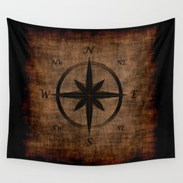 Nostalgic Old Compass Rose Wall Tapestry