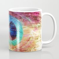 peacock feather Mugs featuring Peacock Feather by Klara Acel