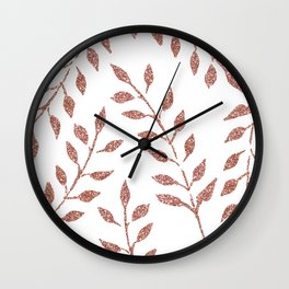 Garden Vines Pink Rose Gold Glitter Wall Clock