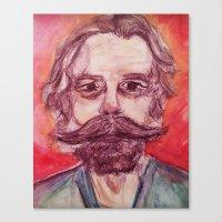 grateful dead Canvas Prints featuring Bob Weir Watercolor Portrait Grateful Dead by Acorn